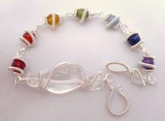 Chakra Rainbow Silver Bracelet by CoparAingeal on Etsy, $42.00