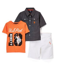 Gray Button-Up & Shorts Set - Infant & Boys