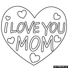 Coloring Page I love YOU Mom