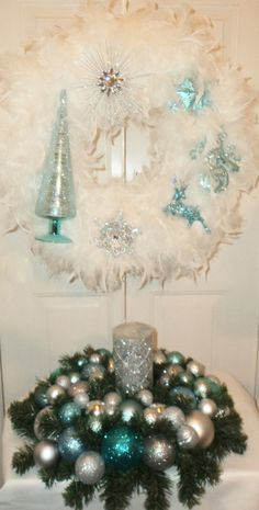 Silver Blue Christmas Centerpiece with by ViennaSparkleWreaths