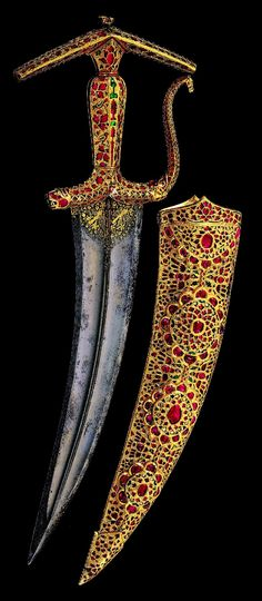 Dagger and scabbard, India, Mughal, circa A., length of dagger 333 millimetres Swords And Daggers, Knives And Swords, Empire Moghol, Mughal Empire, Arm Armor, Islamic Art, Handicraft, Gems, Indian Art