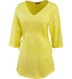 A little frivolous and fabulously comfortable, our Awenda Tunic puts a little flair in your fun with its textured, wicking Chevron pointelle fabric. Flaunt its cute scoop-shaped hem and half sleeves over your favorite leggings with some boots, cinch up the toggle-adjustable waist and get outside – you're covered in the sun with 50+ UPF!