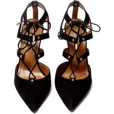 Aquazzura Black Suede Bel Air Pump (2,990 SAR) ❤ liked on Polyvore featuring shoes, pumps, heels, shoes - heels, black heel shoes, black suede shoes, black pointed pumps, black heel pumps and heels & pumps