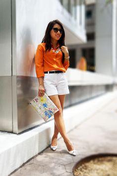 Petite Fashion Bloggers :: Petite Hues :: Orange Silk Summer Whites