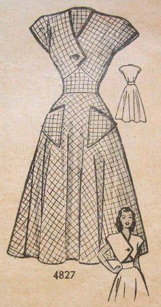 1940s Tea Dress Sewing Pattern Anne Adams 4827 Bust 31 Front Lap Bodice ~ LOVE this pattern!