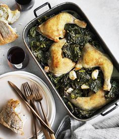 Chicken braised with cavolo nero and wine :: Gourmet Traveller