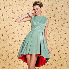 Love the color hint...............TS VINTAGE Color Block Swallowtail Ruffle Dress – USD $ 59.99