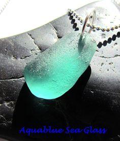 Drilled  GENUINE Sea Glass   Pendant  BRIGHT by aquablueseaglass, $11.99