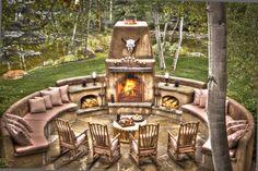 Outdoor Patio Fireplace Scene