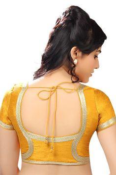 Tumeric #yellow festive wear raw #silk #blouse with cap sleeves -BL634