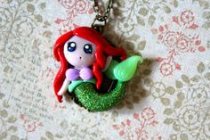 Necklace  Polymer Clay  Little Mermaid Ariel by Puddingfishcakes, $25.00