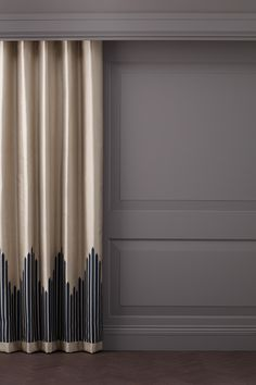 Shard Border by Ottilie Stevenson is an art deco design and takes its name from London's tallest building. Art Deco Curtains, Wave Curtains, Diy Curtains, Curtains With Blinds, Luxury Curtains, Elegant Curtains, Modern Curtains, Home Decor Bedroom, Living Room Decor
