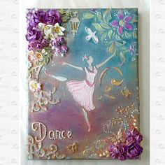 Mixed media canvas with ballerina,  wall decor, wall hanging , wrapped canvas, original painting, bedroom decor,home decor, girls room decor by Aligri on Etsy