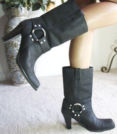 Michael Kors Black High Stack Heel HARNESS Boots 10 M #MichaelKors #FashionMidCalf