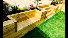 Garden Levelling, Retaining Wall, Stairs, Benches From Railway Sleepers - diy garden landscaping Wooden Retaining Wall, Small Retaining Wall, Sleeper Retaining Wall, Backyard Retaining Walls, Sloped Backyard, Sloped Garden, Backyard Landscaping, Landscaping Ideas, Retaining Wall Gardens