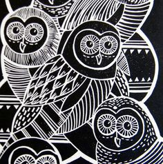 Owls Linocut print by Mangle Prints, via Flickr