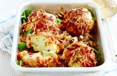 Mini roasted cauliflowers with tomato sauce, spinach and pancetta make a veg-packed dinner for the whole family. This easy recipe takes only 35 mins to make. The mini cauliflower heads are the perfect size to roast quickly, cooked in a rich tomato sauce with Worcestershire sauce kick. Top with a generous helpingof cheese. This tasty recipe counts as 5 of your 5-a-day and is only 407 calories per serving.