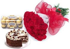 A hand bunch of 15 Carnation, 1/2kg cake and 16 Pc Ferrero Rocher Chocolate