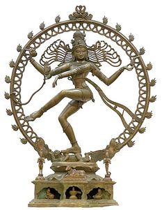 shiva dancing statue - dancing the universe into creation & destruction; creating harmony in meditation. The ring of fire depicts the cosmos coming into being.