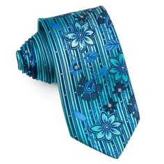 Pierre Cardin Mens Rhinestone Tie Blue Floral Design On Turquoise With Sparkles