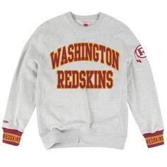 Mens Washington Redskins Mitchell & Ness Gray Team Celebration Crew Fleece Sweatshirt