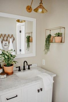 This modern boho bathroom remodel was definitely one for the books. Deciding to demo right before a deployment on top of being 6 months pregnant. The modern boho design is great for a guest bathroom and fun enough for a children's bathroom. Teen Bathrooms, Guest Bathrooms, Bathroom Small, Bathroom Niche, Condo Bathroom, Marble Bathrooms, Bathroom Inspo, Apartment Bathroom Decorating, Teen Bathroom Decor
