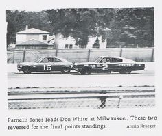 Don White in a Dodge Charger and Parnelli Jones in a Ford during a USAC stock car race at Milwaukee, WI