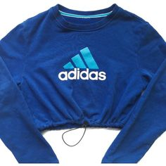 Reworked Adidas Logo Crop Sweatshirt Blue featuring polyvore, women's fashion, clothing, tops, hoodies, sweatshirts, sweaters, adidas sweatshirt, adidas, blue top, logo sweatshirts and logo tops