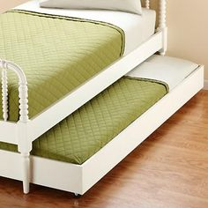 Kids White Jenny Lind Bed Storage Trundle  I'd love to have this in the kids' rooms for surprise sleepovers!