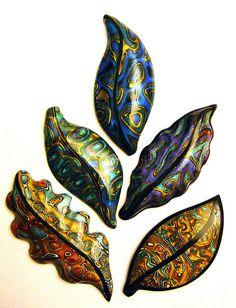 art nouveau leaves (new mokume gane technique) by It's all about color, via Flickr