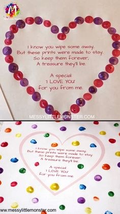 HEART CRAFT with printable fingerprint poem A fingerprint heart poem makes such an adorable keepsake! This easy heart craft has a printable fin Easy Mother's Day Crafts, Valentine's Day Crafts For Kids, Valentine Crafts For Kids, Toddler Crafts, Preschool Crafts, Easy Mothers Day Crafts For Toddlers, Crafts Cheap, Fall Crafts, Fingerprint Heart