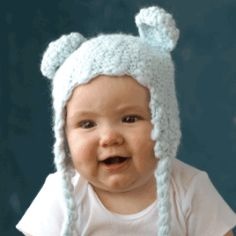 CLICK TO BUY at www.nobleniches.com Our hand knitted Baby Bear Hat with ear flaps in Blue is so soft and sweet!  Perfect for cold weather months.  Makes a great gift! $21.00 #nobleniches #baby #babyboy #handknit #handmadebabyhat #babyhat #homestylesgallery