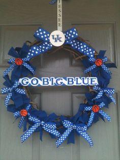 University of Kentucky wreath with monogrammed door hanger by joelybun, $50.00