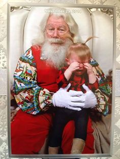 Sometimes kids are decidedly not thrilled to be on Santa's lap.