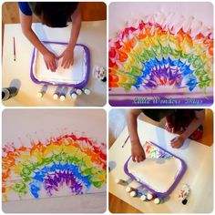 Rainbow Shaving Cream Painting (from Little Wonders' Days) for weather or space (make planets) science storytimes Crafts To Do, Crafts For Kids, Arts And Crafts, Diy Crafts, St Patrick's Day, Rainbow Theme, Rainbow Art, Spring Activities, Art Activities