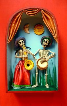 DAY OF THE DEAD SKELETON 'MUSIC COUPLE' RETABLO SIGNED BY ARTIST J. SANCHEZ PERU