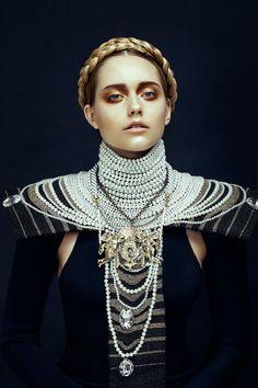 Long Pearl Necklace Choker ◆ Neovictorian Modern Baroque Fashion ◆ MisseyChelles