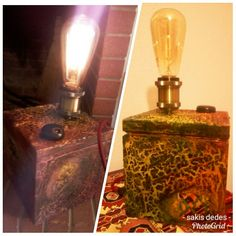 Table lamp. Wooden box. Crackle paint. Fabric cable. Dimmer switch.