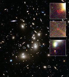 Abell 2744 and three images of a distant galaxy   ESA/Hubble. Image credit: NASA (http://www.nasa.gov), ESA (http://www.spacetelescope.org). Acknowledgement: A. Zitrin (California Institute of Technology, USA)