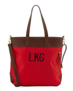 Monogrammed+Mixed-Media+Nylon+Tote+Bag,+Scarlet/Chocolate+by+Neiman+Marcus+at+Last+Call+by+Neiman+Marcus.