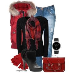 """Red Ombre Scarf"" by stephiebees on Polyvore"