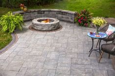 Relax by the fire all Summer long with Cambridge Pavingstones and Armor Tec's fire pit! Installation: Weiss Outdoor Backyard Seating, Backyard Ideas, Fire Pit Bbq, Fire Table, Outdoor Fireplaces, Outdoor Living, Outdoor Decor, Decking, Patio Design