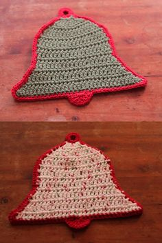 My Christmas Potholders, front and back. From this pattern: http://www.allfreecrochet.com/Holiday-Crochet-Patterns/New-Year-Bell-Potholder
