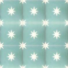 turquoise / white star concrete tile – Handmade Tiles // Margate Pink Stars, Bright Stars, Concrete Tiles, Cement, Tiles Uk, Turquoise Tile, Tile Stores, Encaustic Tile, Handmade Tiles
