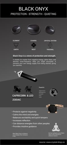 Black Onyx Meaning - The Black Onyx Crystal brings the deepest reflection of your soul. Crystal Guide, Crystal Magic, Crystal Healing Stones, Crystal Shop, Crystal Jewelry, Quartz Crystal, Black Crystals, Crystals And Gemstones, Stones And Crystals