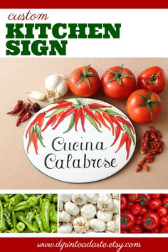 Red Chili peppers to decorate your kitchens wall! This personalized kitchen sign, is an excellent decor idea to give as custom gift for a chef. Very suitable as restaurant decor in rustic style. ★ADVANTAGES OF A CUSTOM SIGN Kitchen Decor Signs, Rustic Kitchen Decor, Rustic Wall Decor, Personalized Signs For Home, Chili, Beach House Signs, Cottage Signs, Tile Murals, Garden Signs