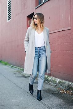 grey coat, white tee, girlfriend jeans, black boots, fall winter street style