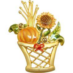 JJ Fall Basket Pin  -- found at www.rubylane.com @rubylanecom #vintagebeginshere