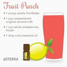 doTERRA Fruit Punch Smoothie Get your Essential Oils here… Cooking With Essential Oils, Lime Essential Oil, Doterra Essential Oils, Young Living Essential Oils, Essential Oil Blends, Doterra Slim And Sassy, Smoothies, Smoothie Recipes, Drink Recipes