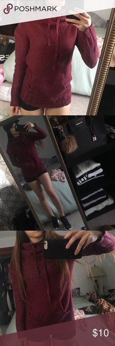 Rue 21 turtle neck hoodie!  It's a Burgundy hoodie. Worn two times since I got it. Hopefully someone will like this as it is the perfect cute and casual sporty outfit! It covers the neck a bit so it's warm. 100 % acrylic Rue 21 Tops Sweatshirts & Hoodies
